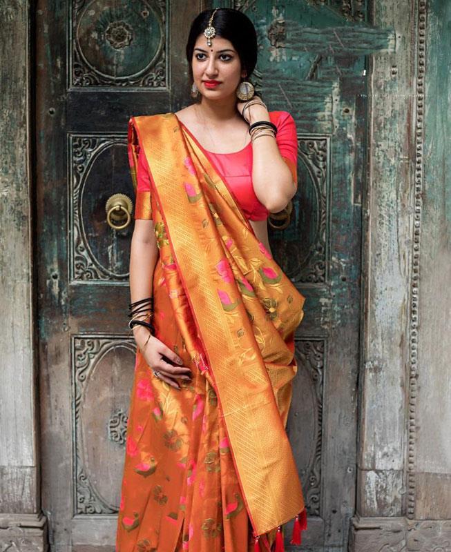 Woven Silk Saree (Sari) in Orange