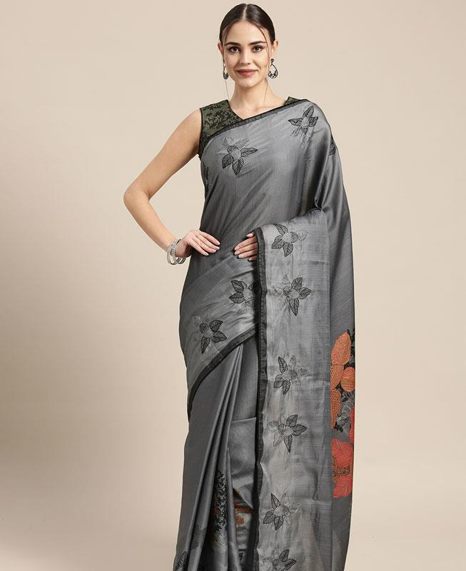 Satin Saree in Grey