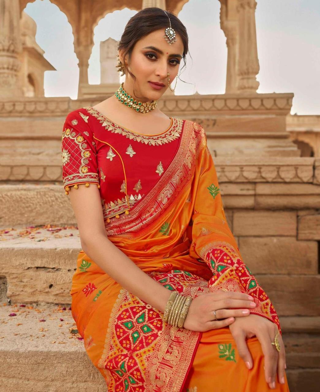 Stone Work Silk Saree in Orange