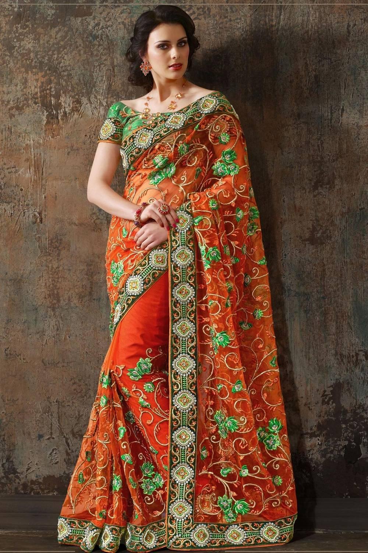 Embroidered Net Saree (Sari) in Orange