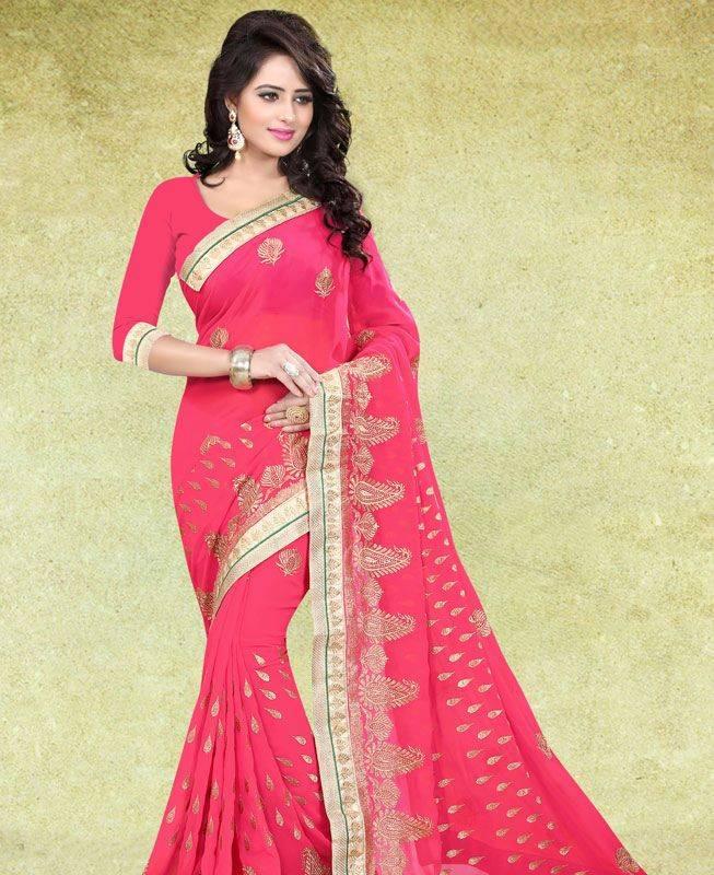 Butta Work Georgette Saree (Sari) in Pink