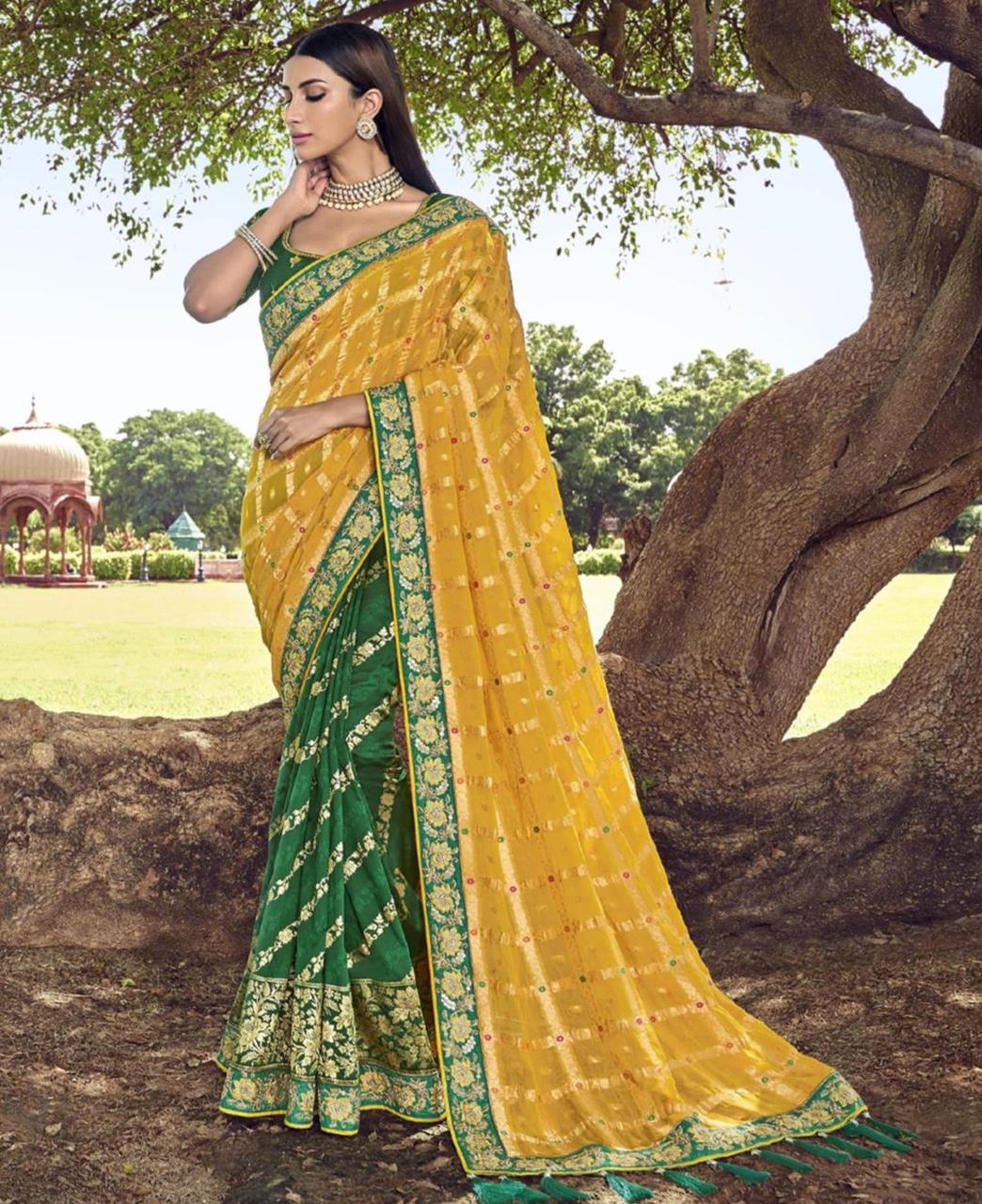 Lace Silk Saree in Yellow  ,  Green