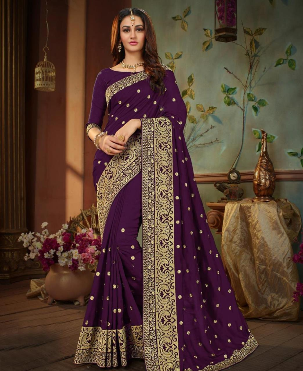 Embroidered Silk Saree (Sari) in  Violet