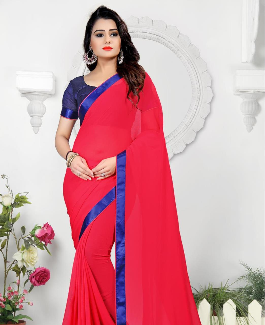 Lace Chiffon Saree (Sari) in Pink