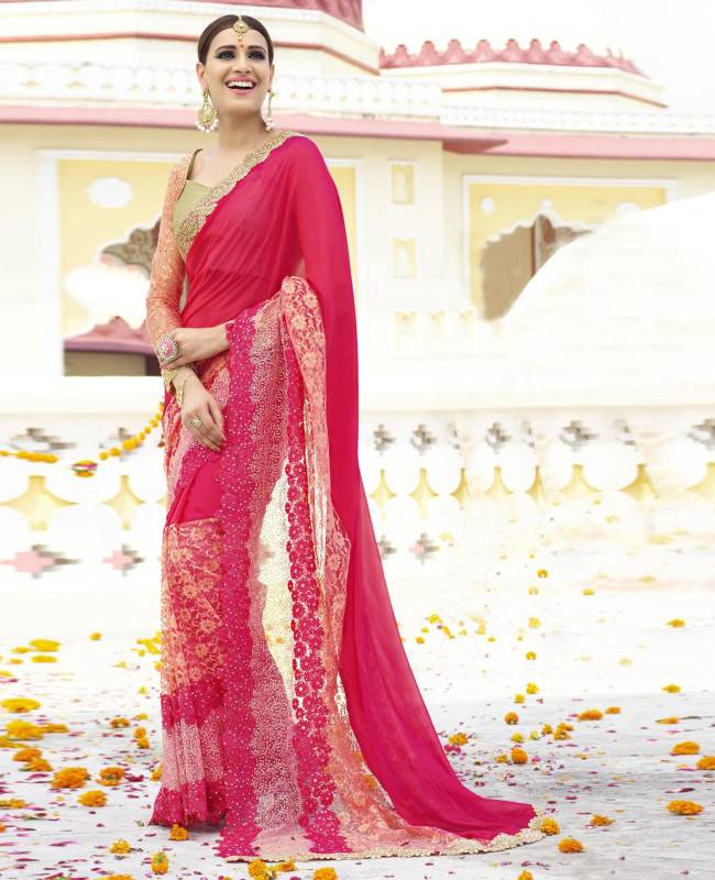 Embroidered Faux Georgette Net Saree (Sari) in Pink
