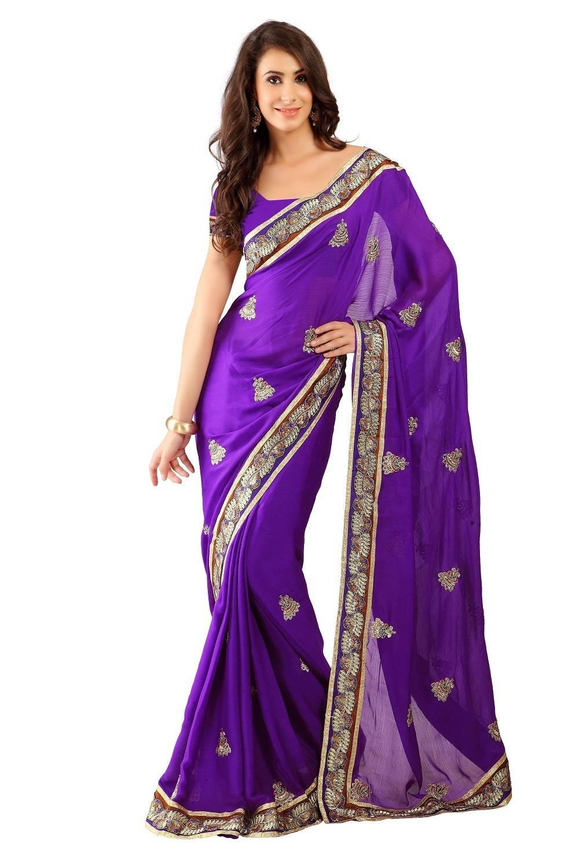 Embroidered Faux Georgette Saree (Sari) in Purple