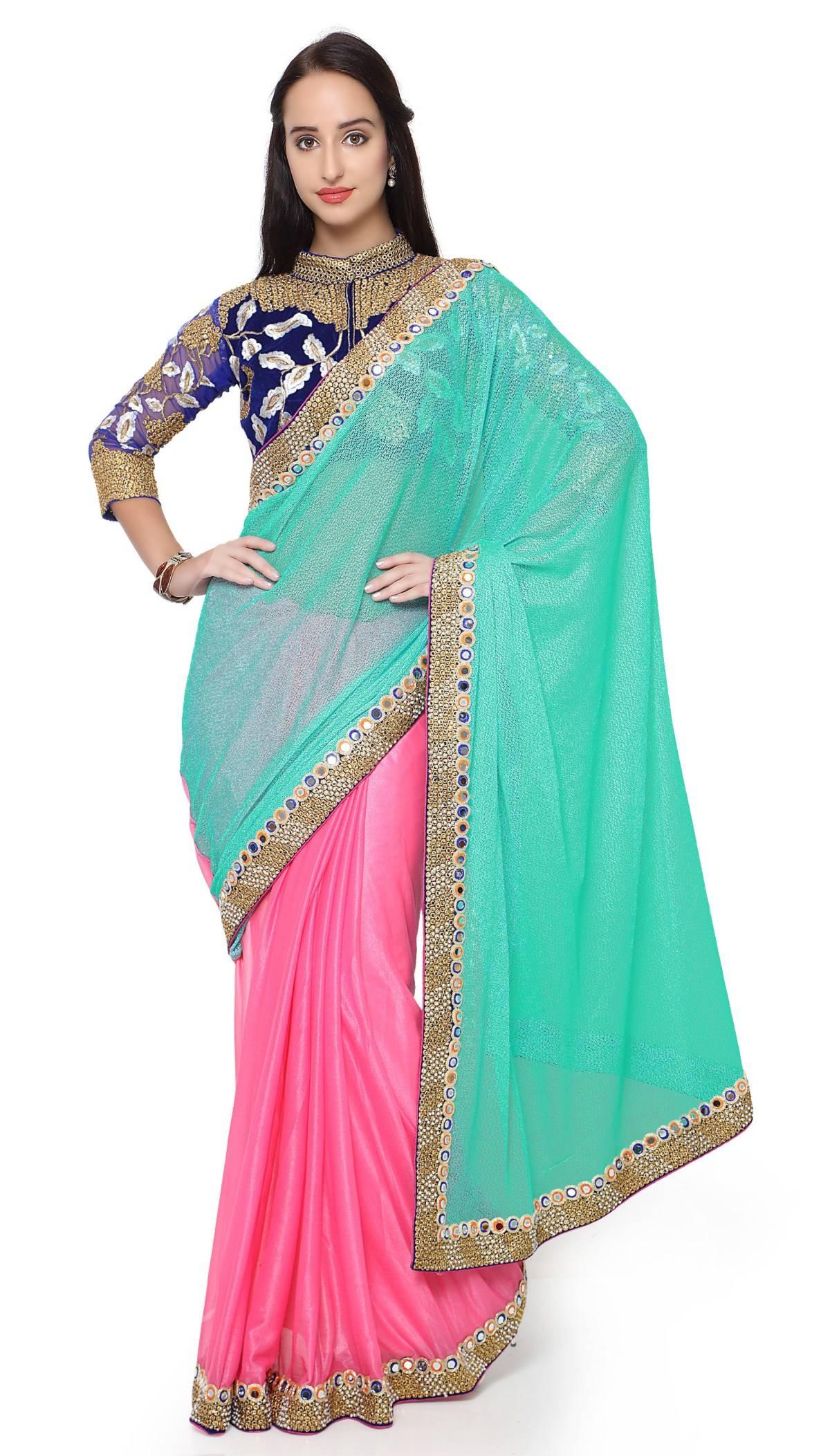 Embellishments Lycra Saree (Sari) in Pink