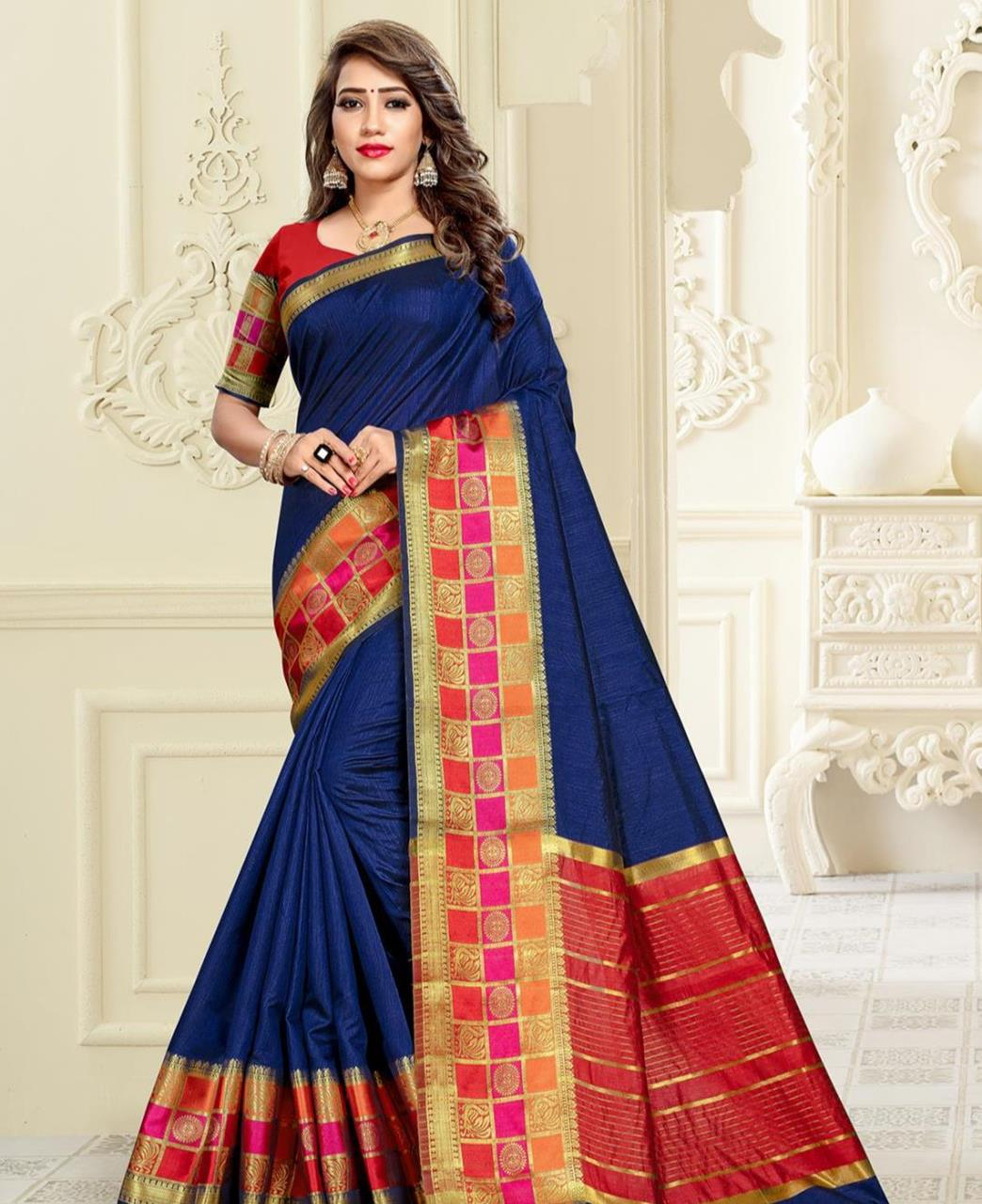Cotton Saree in Royal Blue