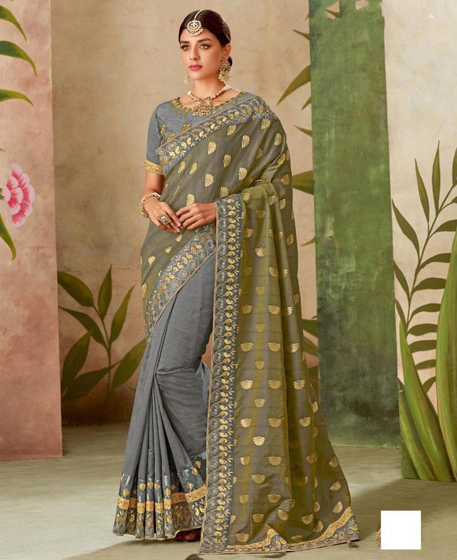 Cord Work Silk Saree(Sari) in Gray