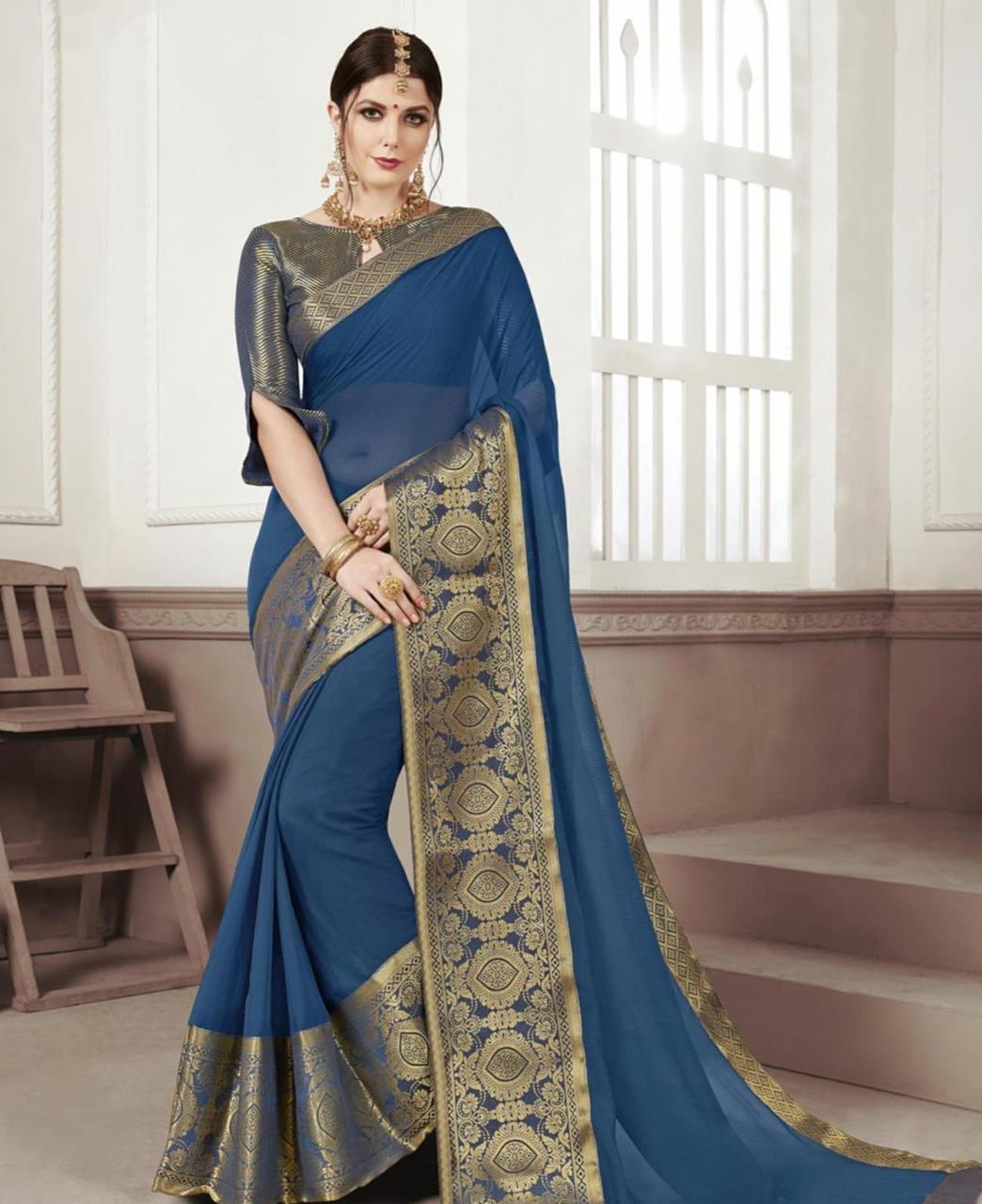 Woven Chiffon Saree (Sari) in Blue