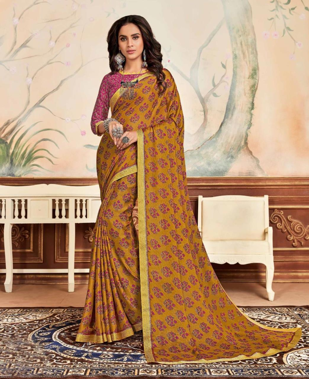 Lace Chiffon Saree in Musterd