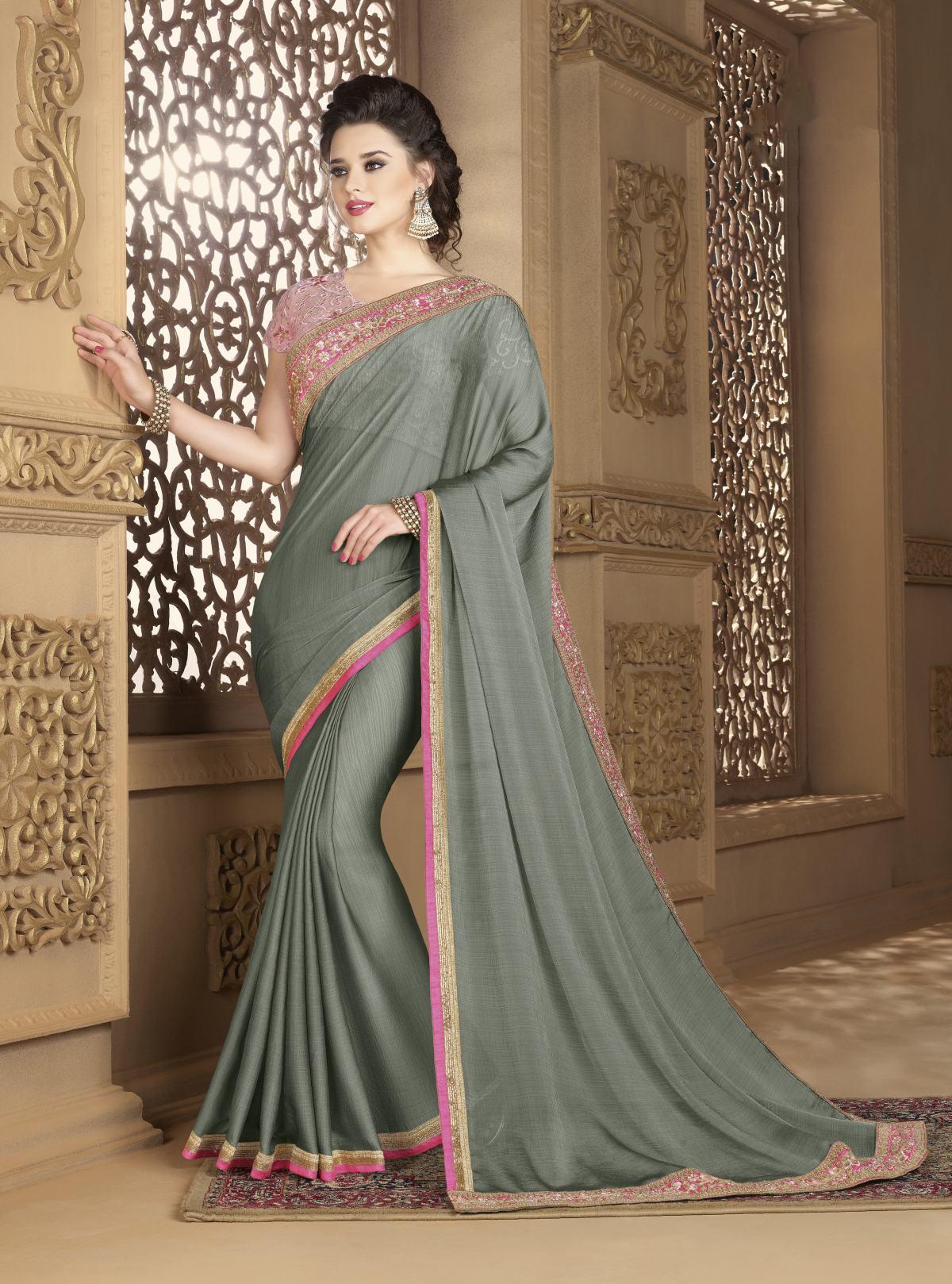 Embroidered Chiffon Saree (Sari) in Gray