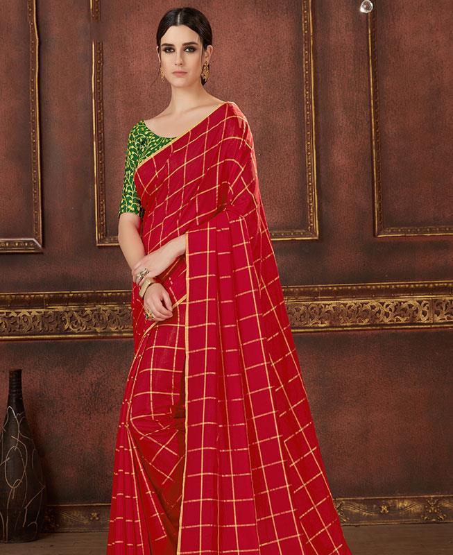 Printed Silk Saree (Sari) in Red