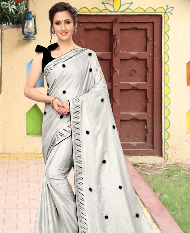 Dangler Silk Saree in Gray