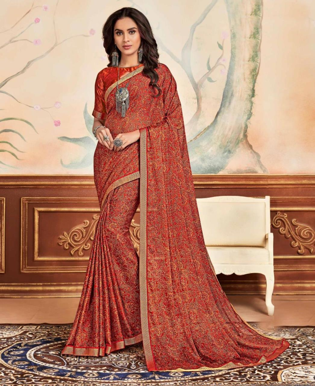Lace Chiffon Saree in Red