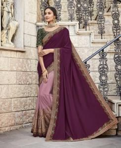 Stone Work Silk Saree in Violet