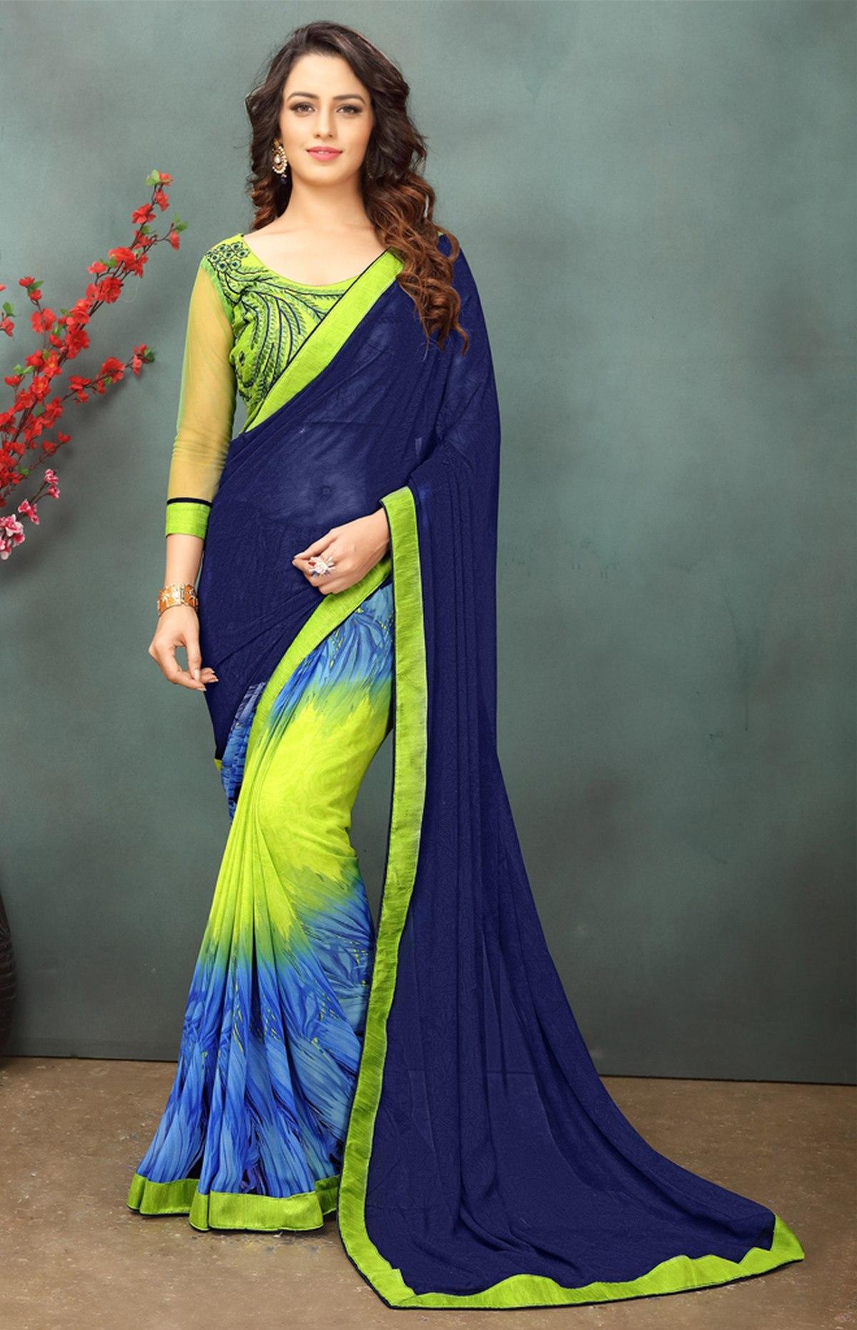 Thread Georgette Saree in Blue