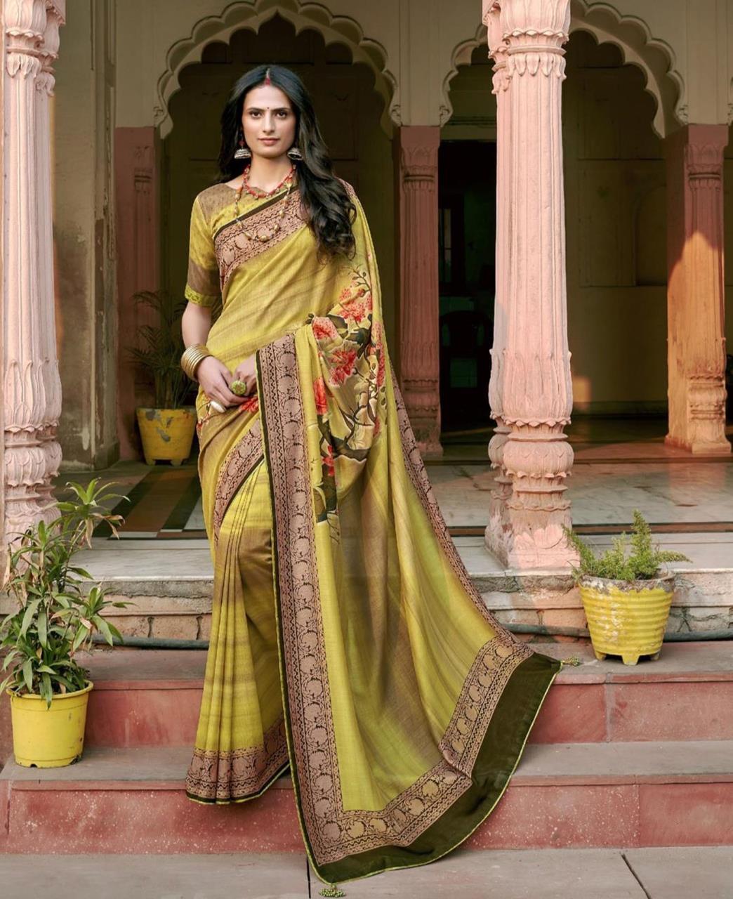 HandWorked Silk Saree in Olive Green