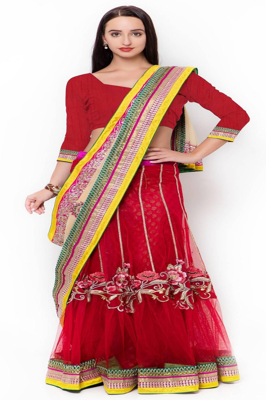 Embellishments Net Saree (Sari) in Red