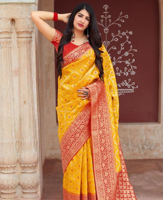 Woven Banarasi Silk Saree in Yellow