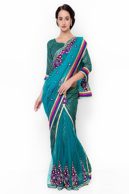 Embroidered Net Saree (Sari) in Green
