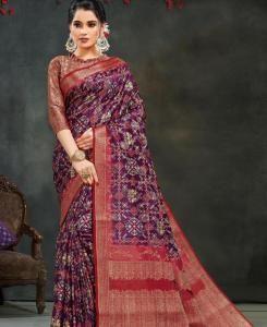 Printed Georgette Saree in Purple