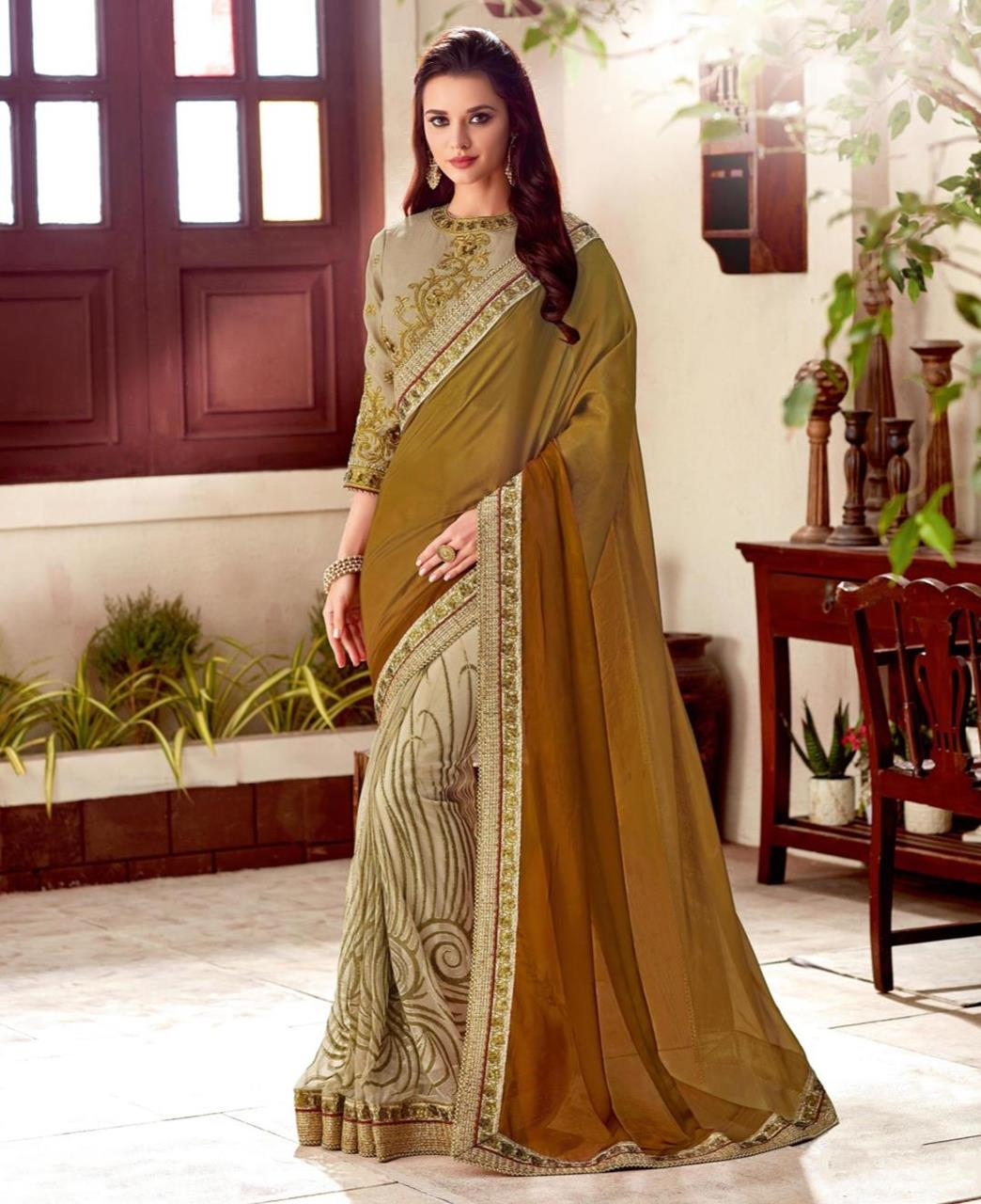 Embroidered Silk Brown Saree