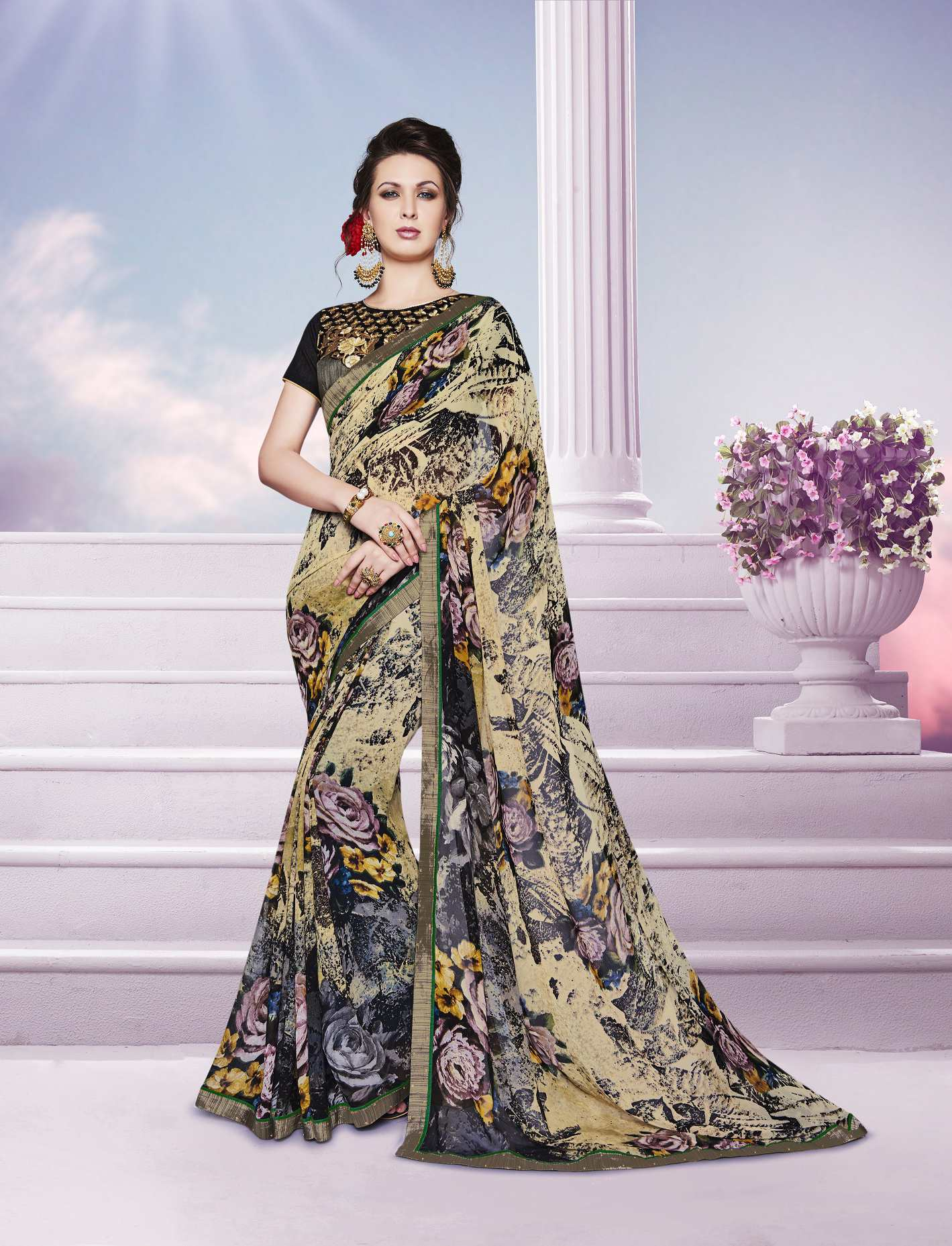 Printed Georgette Saree (sari) in Black