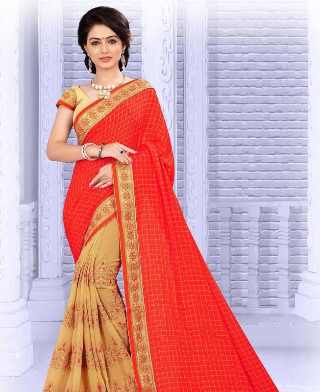 Lace Georgette Saree (Sari) in Red