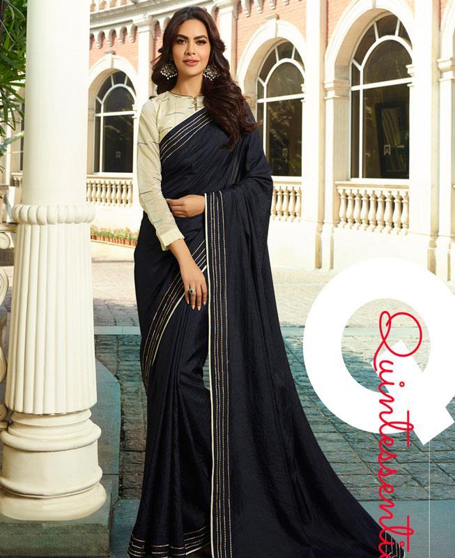 Plain Silk Saree in Black