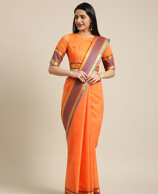 Cotton Saree in Orange