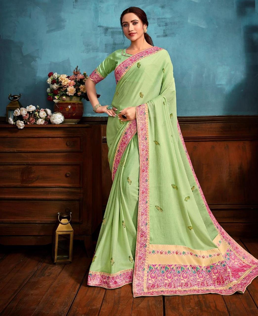 Printed Chiffon Saree in Light Green