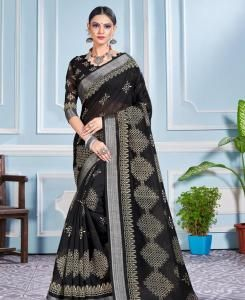 Printed Cotton Saree in Black