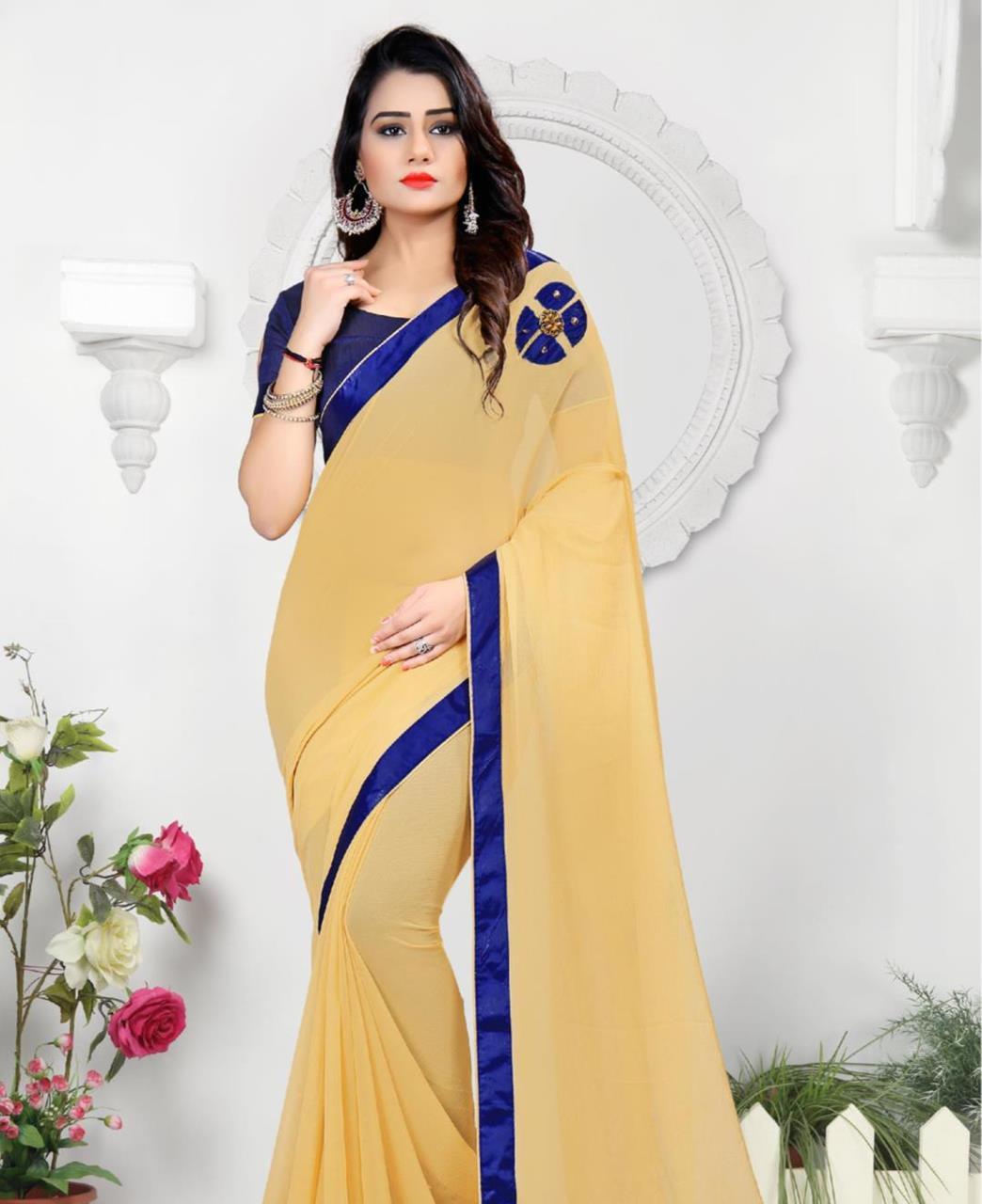 Lace Chiffon Saree (Sari) in Beige