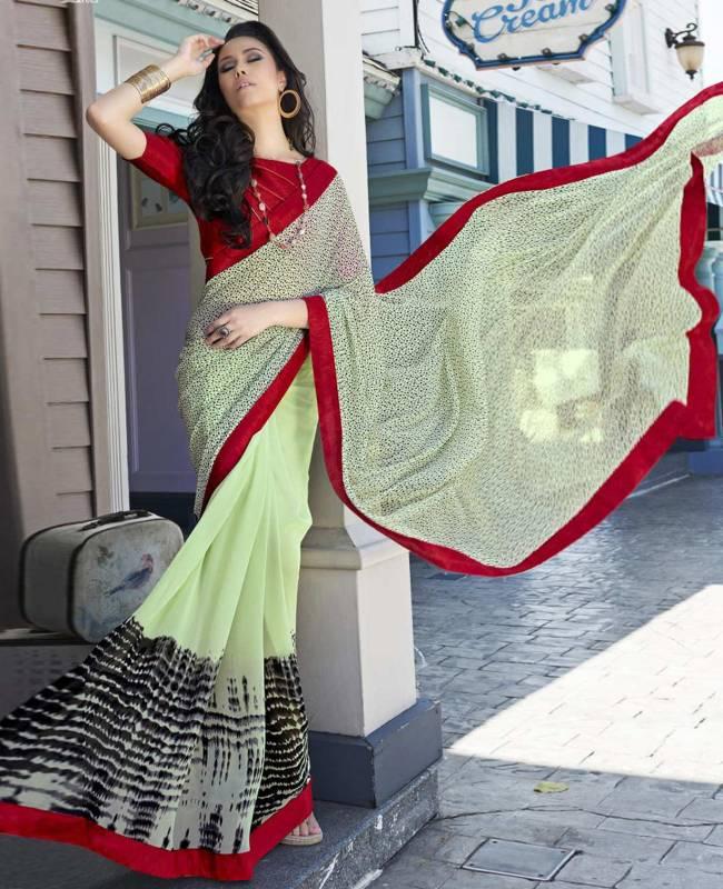 Printed Faux Georgette Saree (Sari) in Off White