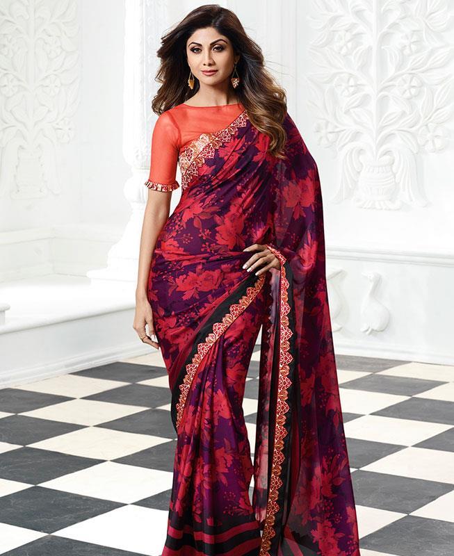 Printed Chiffon Saree in Purple