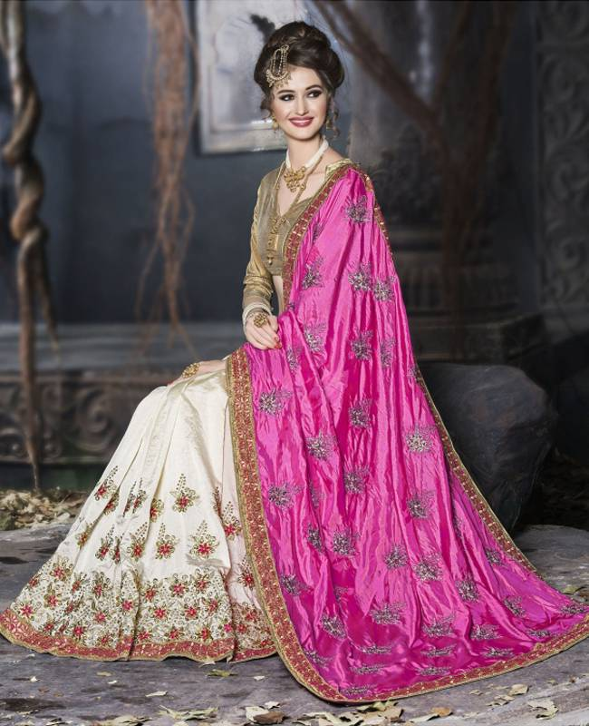 Embroidered Art Silk Saree (Sari) in Pink