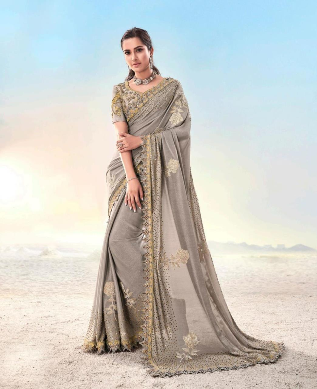 Zari Silk Saree in Gray