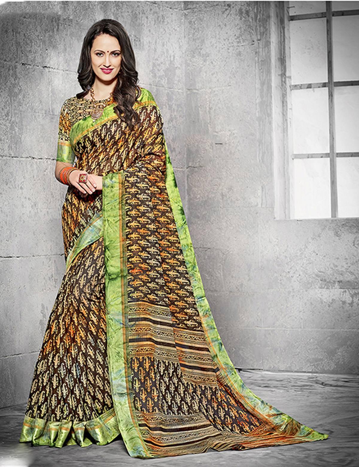 Printed Silk Saree (sari) in Brown