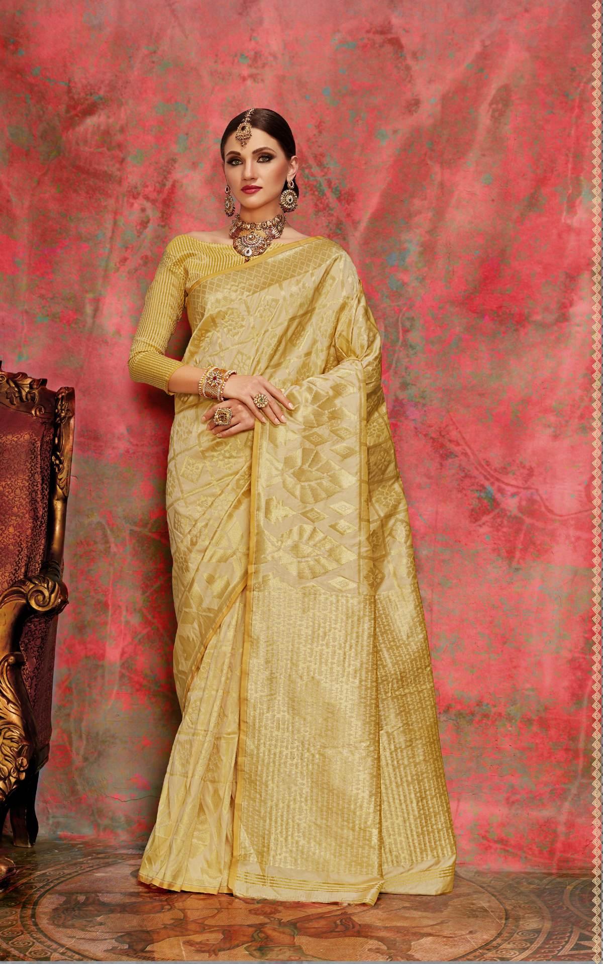 Woven Art Silk Saree in Beige