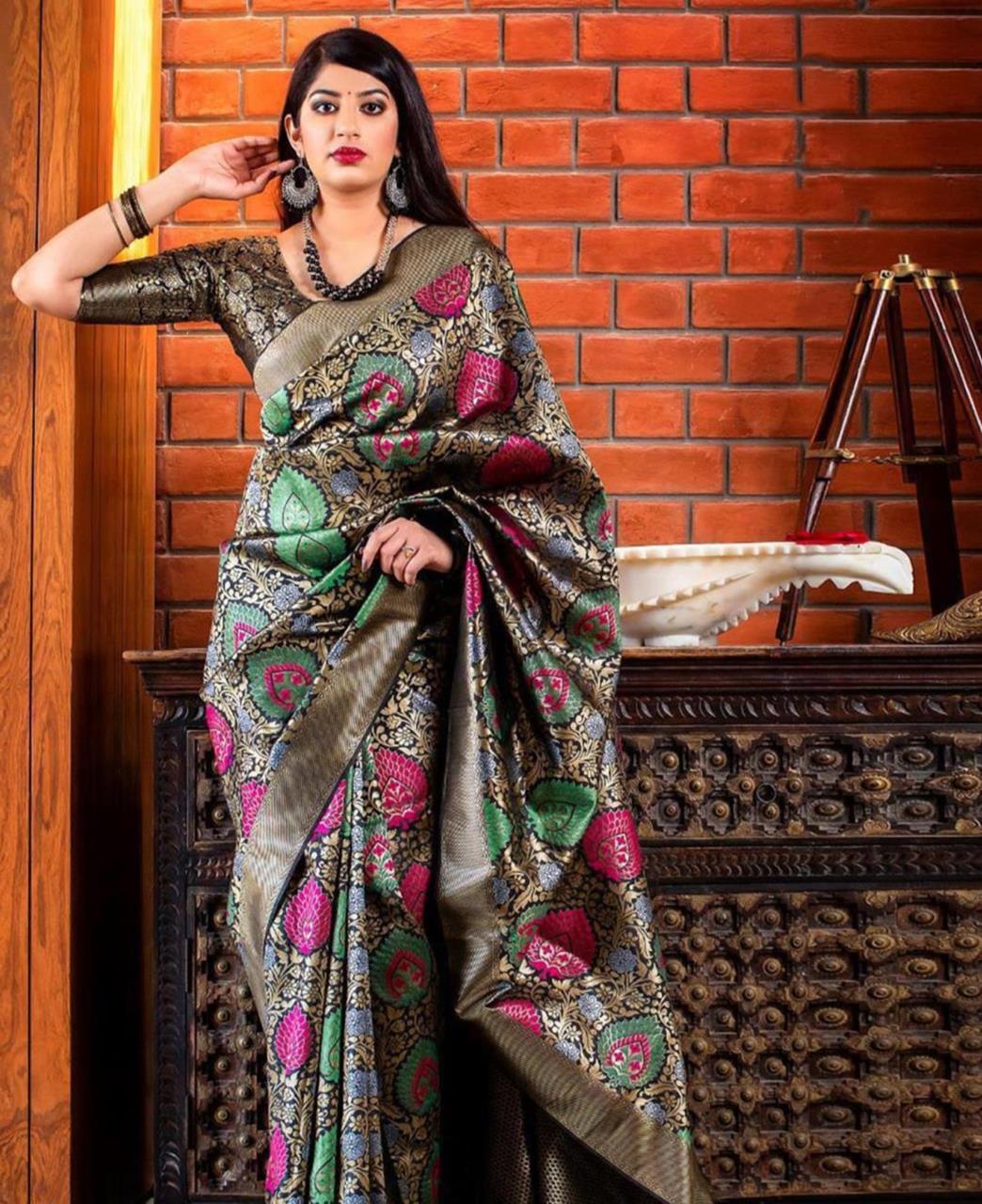 Printed Banarasi Silk Saree (Sari) Gray