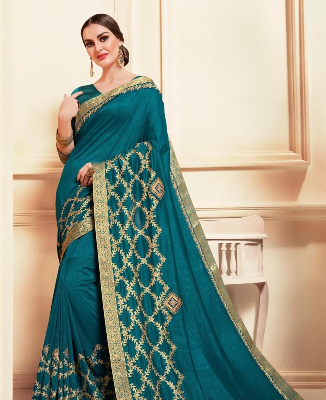 Embroidered Silk Saree in Teal Blue