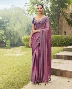 Embroidered Chiffon Saree in Purple