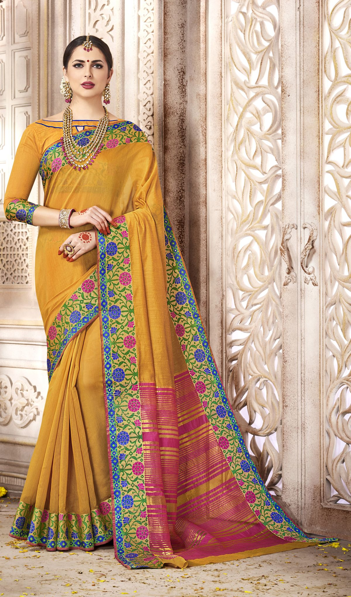 Woven Silk Saree in Yellow