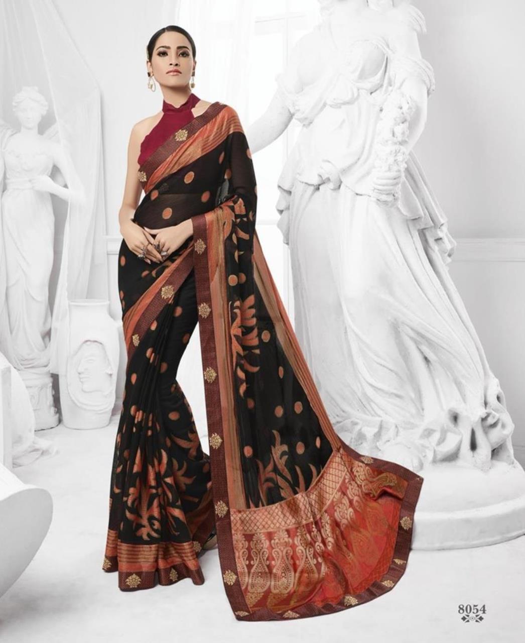 Printed Brasso Saree (Sari) in Black