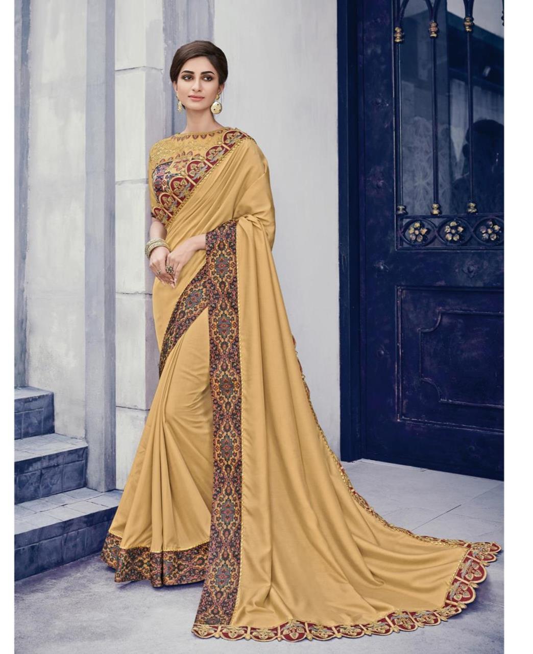 Border Work Silk Saree (Sari) in Gold