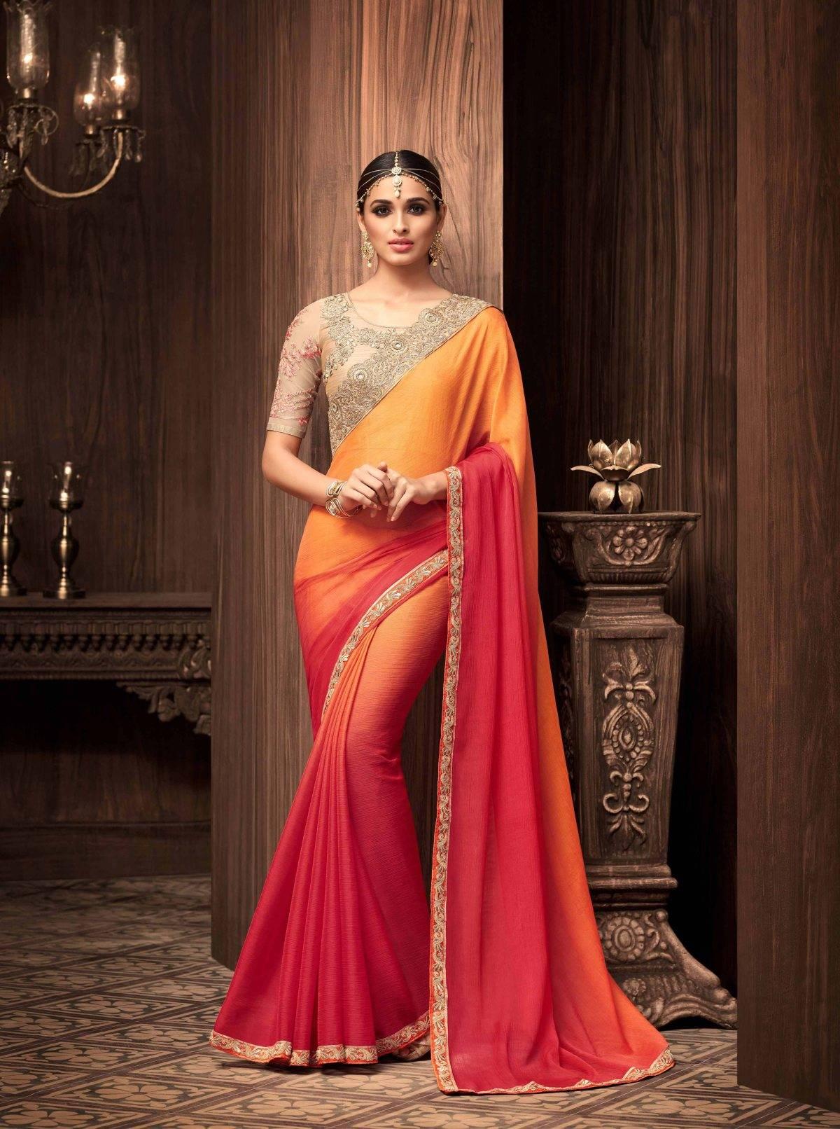 Stone Work Chiffon Saree (sari) in Orange
