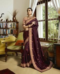 Sequins Silk Saree in Maroon