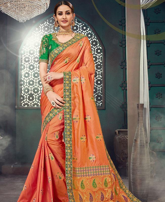 Jacquard Bhagalpuri Silk Saree (Sari) in Orange