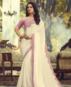Lace Silk Saree in Off White